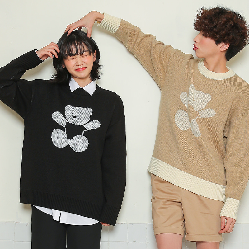 AQO HUG ME BEAR KNIT BLACK