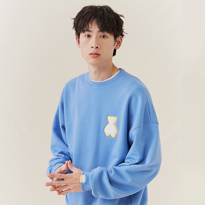 [3차 재입고] AQO BEAR LOGO SWEATSHIRTS BLUE