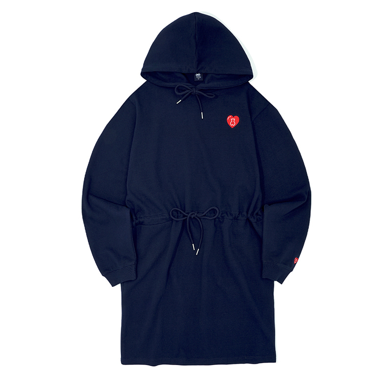 AQO HEART HOOD ONE-PIECE NAVY